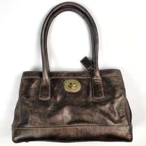 Coach Madeline bronze brown leather bag